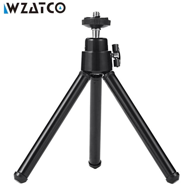 New Price WZATCO Small Size MINI Tripod Stand Lightweight Portable Tripod Aluminum Metal Flexible Tripods Stand Mount for MINI Projector