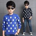 Осенняя мода мальчик дети цветов дети зимой свитер свитер синий хлопковый жаккард дна рубашки куртка TOP17
