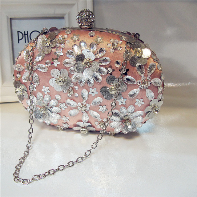 2016 egg pearl evening bag Oval Aluminum sequins flowers beaded bag women's diamond wedding bag with one shoulder cross-body