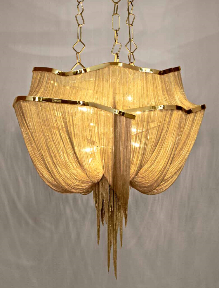 new luxury large chain tassel pendant lamp LED gold customizable aluminum 90cm/110cm светоотражатель godox rft 01 gold silver 110cm