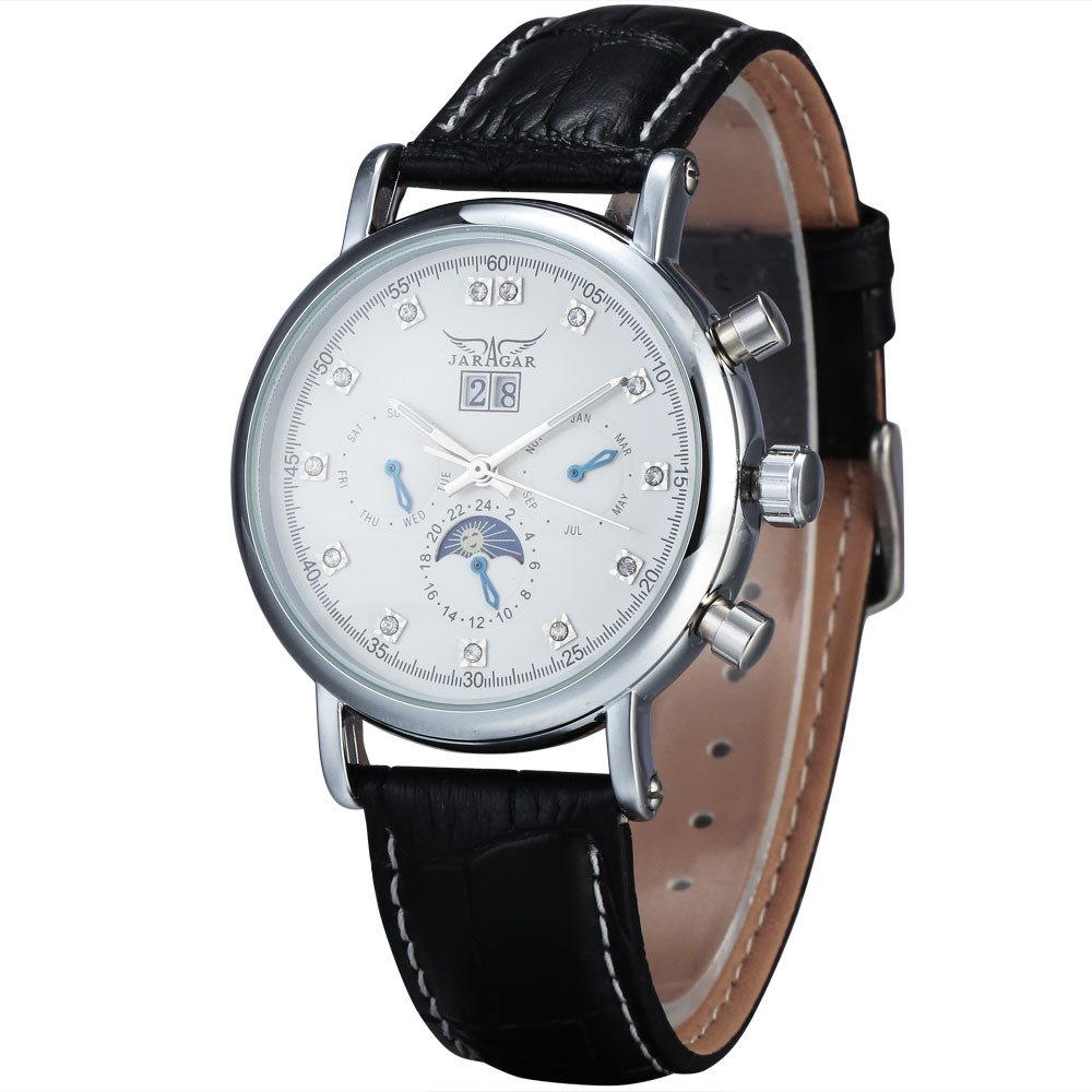 2016 JARAGAR Fashion Automatic Mechanical Men Women Clock Moon Phase Complete Calendar Auto Date Dial Leather