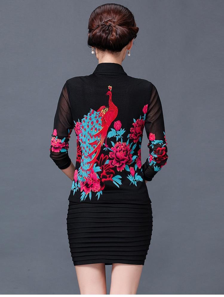 Mode Chemisier Floral Femmes Stretch Casual Longues Fleur Blouses Maille 3xl Mince À Imprimé Printemps Automne Femme Motif Manches 5qpxv
