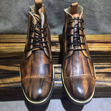 The new spring and summer 2016 men's fashion leather vintage old boots and short boots pure comfort Handmade boots