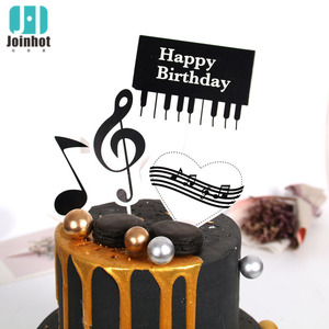 Piano cake tag birthday cake toper Baking decoration Pendant Party Supplies simulation flower cake topper child birthday(China)