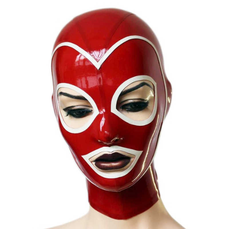 Red Heart Latex Hood Cosplay Fetish Hood Latex Mask with Open Eyes and Mouth with Zipper