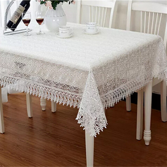 Pink white fresh glass yarn embroidery lace tablecloths european coffee table cloth tablecloth Coffee table tablecloth