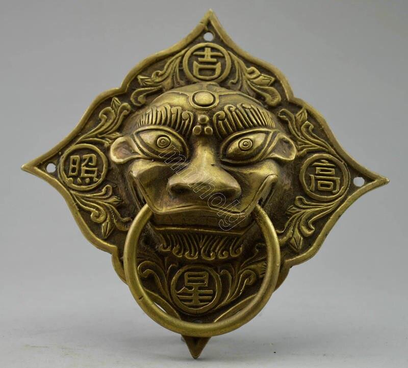 2 шт. старый ручная Медь Резные Дракон дверной молоток украшения Настоящее латунь украшения сада 100% тибетское серебро латунь