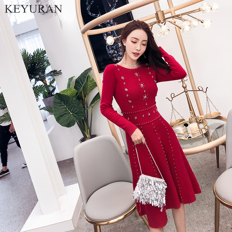 Luxury Goddess 2019 Spring Knitted Ball Gown Dress Fashion Women Red Beading Sweater Dress High Quality
