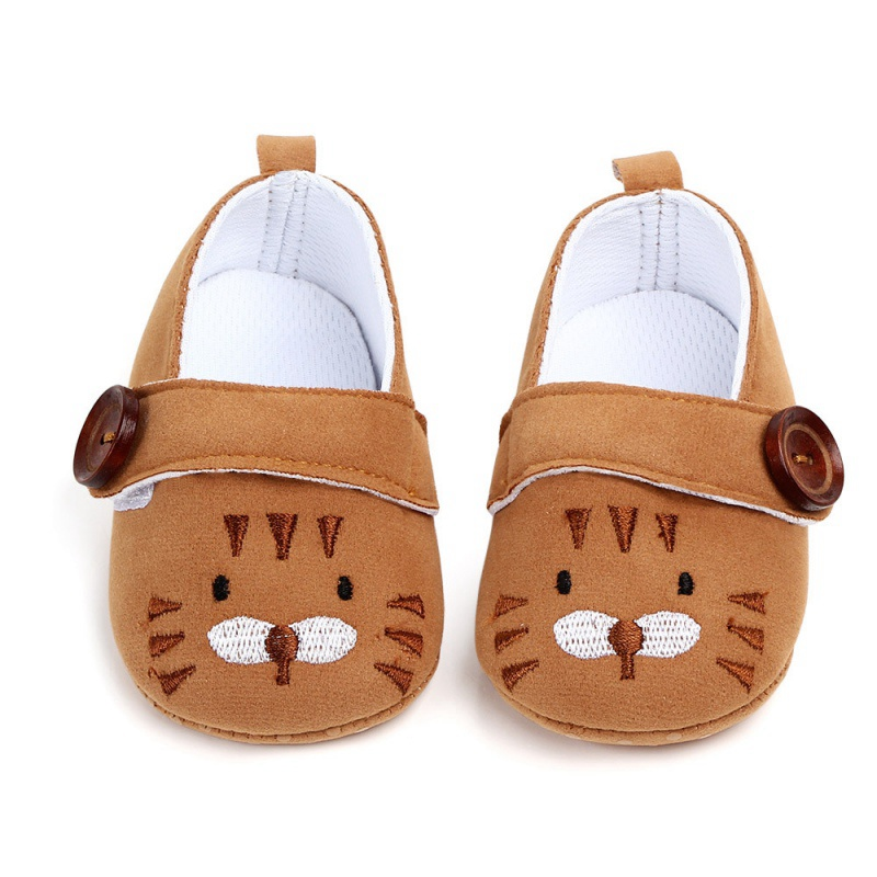 Cute NewBorn Baby Girl Shoes Princess Cartoon Embroidery Animal Soft Cotton Toddler Crib Infant Sole Anti-slip First Walker Shoe