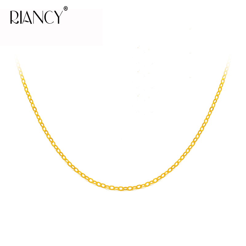 Genuine 18K Yellow Gold Chain 18 inches Au750 Necklace Pendant Wedding Party Gift For Women цена в Москве и Питере