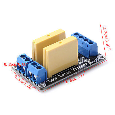 New 2 Channel SSR Solid State Relay High-low Trigger 5A 3-32V For Arduino UNO R3 4 channel ssr solid state relay high low trigger 5a 3 32v for uno r3 h02