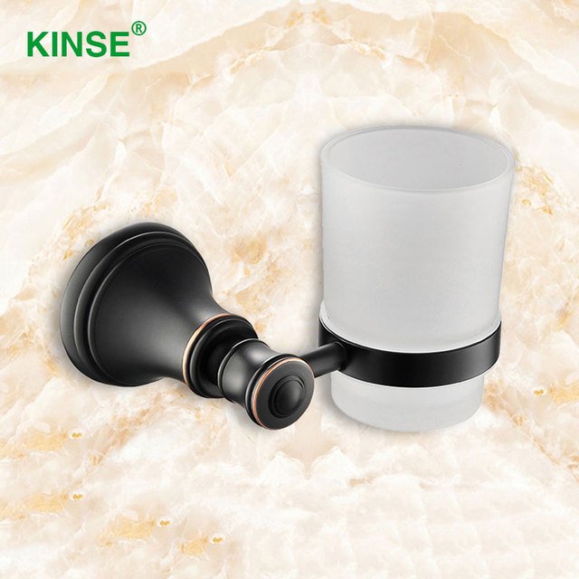 KINSE Luxury Brass Material Single Cup Holder White Color Glass Cups Bathroom  Accessories Toothbrush Cup Holder