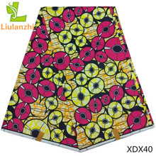 LIULANZHI African wax printed cotton fabric high quality veritable real Nigerian Ankara for wedding dress 6yard XDX40