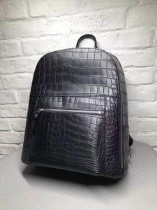 Belly-Skin-Backpack-Bag Crocodile Black High-End-Quality Fashion Real Matt-Water-Dyeing