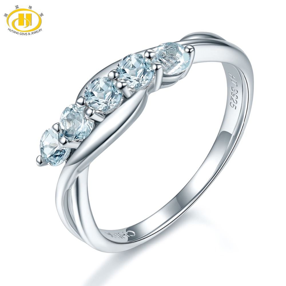 Hutang Stone Jewelry 100% Natural Aquamarine Gemstone Ring Genuine Pure 925 Sterling Silver Fine Fashion Jewelry For Women Gift