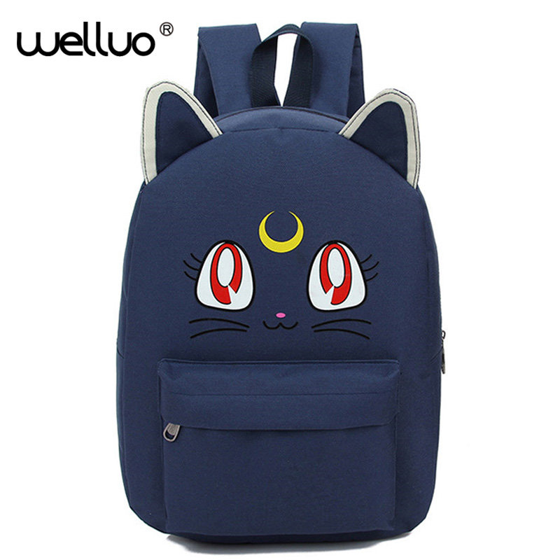Harajuku Style Backpack Sailor Moon Canvas Backpack Cute Cat Shoulder Bag School Bags For Teenager Girls Book Bag Rucksack A175B harajuku style ice cream printing backpack high middle school student shoulder bag backpack for teenager girls casual travel bag