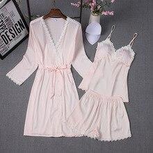 Комфортная Пижама для сна из 3 предметов, женские пижамные комплекты с подушечкой на груди, Сексуальная атласная пижама, розовая кружевная Повседневная Пижама, Женская домашняя одежда