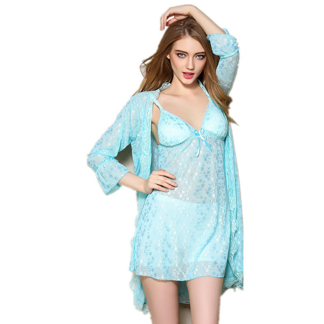 New Arrival 2017 Sexy Women's Robe Set Mini Nightwear Indoor Sleepwear Lace Long sleeve bathrobe + nightgown two pieces