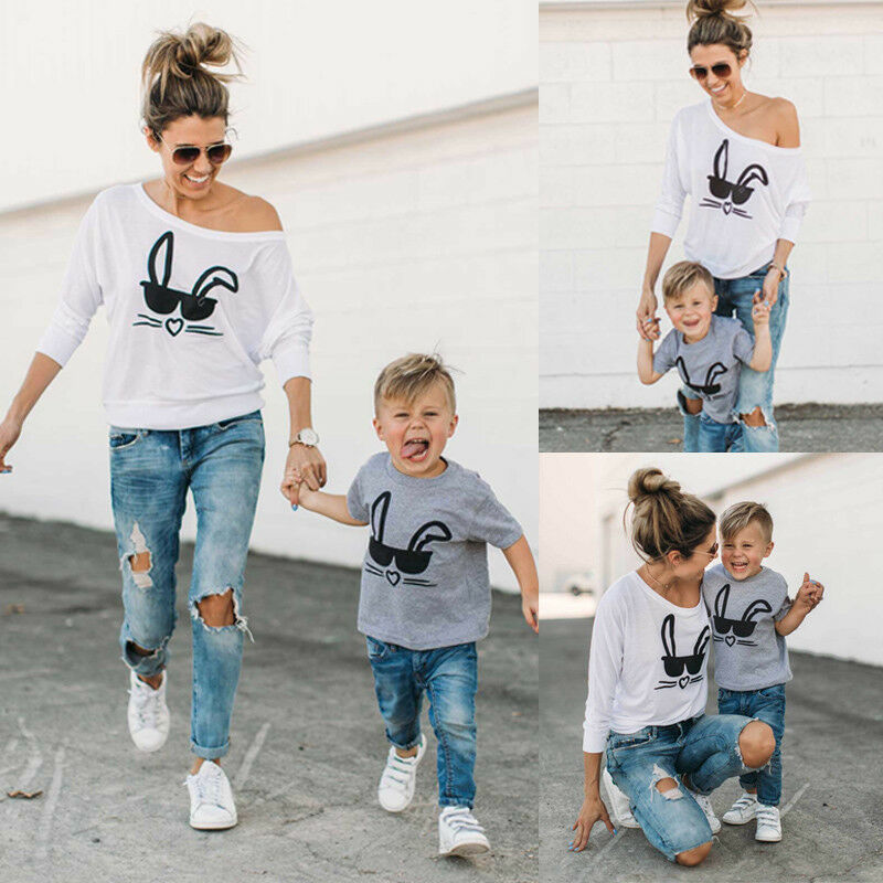 HOT Family Matching Casual Outfits Cute Mother Boy's Tops T-shirt MOTHER SON Women And Baby's Rabbit Printed Tee Tops