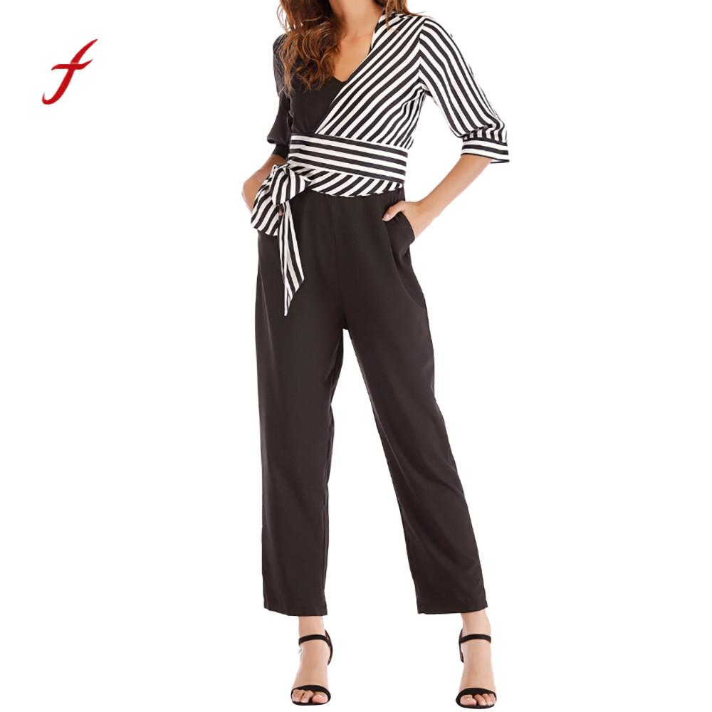 jumpsuits for women 2018 jumpsuit Fashion Striped Bow Bandage Patchwork Pencil Pants rompers womens jumpsuit macacao feminino