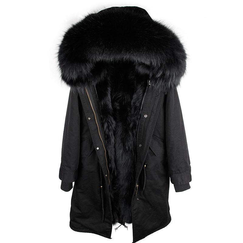 2018 New Real Fur Parka Men Winter Jacket Real Raccoon Fur Hooded Coats Nature Raccoon Dog