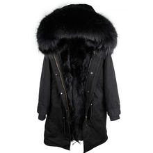 2019 New Real Fur Parka Men Winter Jacket Real Raccoon Fur Hooded Coats Nature Raccoon Dog Lining Jacket Man Real Fur Coat(China)