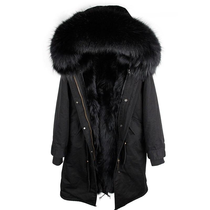 2019 nueva Parka de piel Real para hombre chaqueta de invierno Abrigo con capucha de piel de mapache natural perro mapache forro Chaqueta Hombre Real abrigo de piel