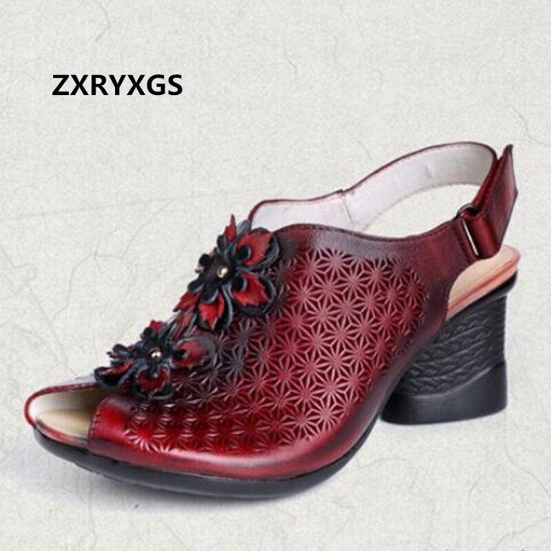 2019 New Elegant Flower Cowhide Summer Women Sandals Open Toe Women Shoes High Heel Sandals Comfortable