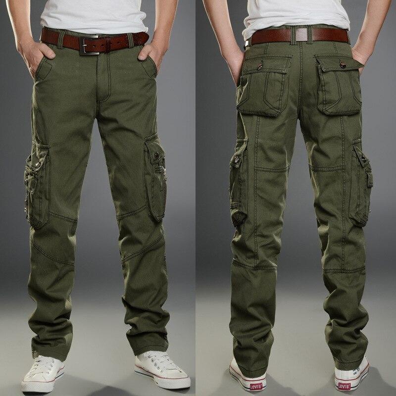 2018 marca mens Militar Pantalones cargo multi-bolsillos baggy hombre Pantalones casual Pantalones Monos ejército Pantalones cargo alta calidad