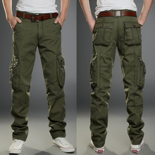2019 Marka mężczyźni Military Cargo Spodnie Multi-kieszenie baggy mężczyźni spodnie casual spodnie kombinezon Army spodnie Cargo Spodnie wysokiej jakości tanie tanio Mężczyzn Pełna długość Połowie Przycisk Fly Sukno Płaskie Poliester bawełna z Midweight Regularne