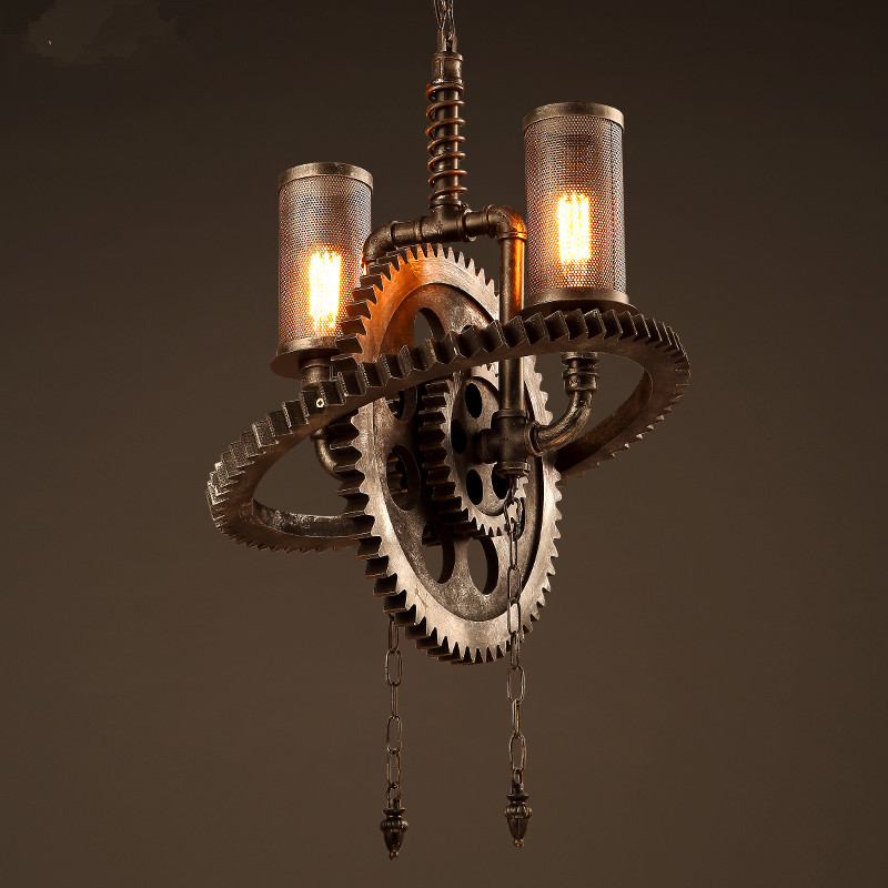 Loft style iron pendant lamp creative industry Restaurant Bar Cafe personality studio gear 2 head pendant lights loft style iron pendant lamp creative industry restaurant bar cafe personality studio gear 2 head pendant lights