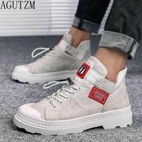 AGUTZM Men's   Vulcanize     Shoes   Lace-up Men Casual   Shoes   Fashion High Top Men High Pipe Men's Flat   Shoes   Q101