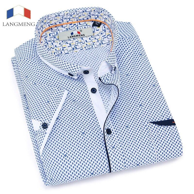 Langmeng clearance sale 2017 Summer 100 Cotton Male Casual shirts Mens Dress Shirt Men Shirt Short