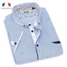 Langmeng распродажа лето 2017 г. 100% хлопок мужской Повседневное рубашки мужская одежда рубашка Для мужчин рубашка короткий рукав Camisa masculina