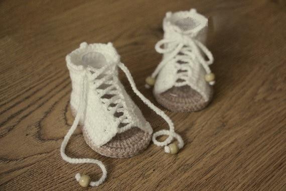 Freies Verschiffen Creme Und Tan Häkeln Baby Sandalen Baby