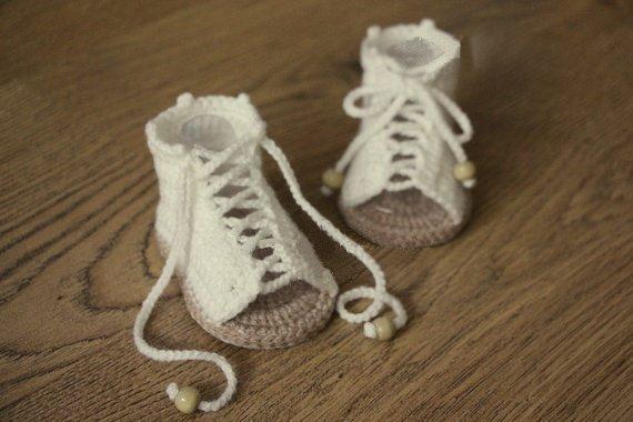 Online-Shop Freies verschiffen, creme und tan Häkeln baby sandalen ...