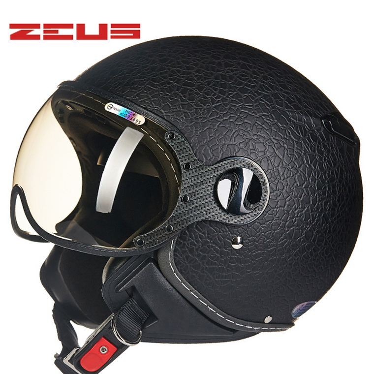 2017 New Fash Taiwan ZEUS motorcycle helmet ABS ZS-210c half face electric bicycle helmets Unisex Imitation skin stripe color