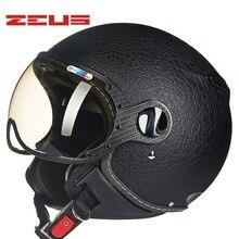 2017 Новый Мучиться Тайвань ZEUS ZS-210c мотоциклетный шлем ABS пол-лица электрический велосипед шлемы Мужская Искусственная кожа полоса цвет