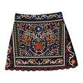 Moda vintage Floral Bordado falda mujeres Otoño invierno de la alta cintura mini faldas de las señoras saia faldas jupe falda más tamaño