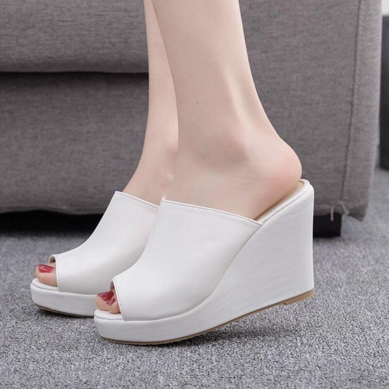 Women Sandals Shoes Slip-On Wedges 10CM High Heels Shallow Peep Toe 2cm Platform Non-slip Female Slippers Pumps Shoes Plus Size