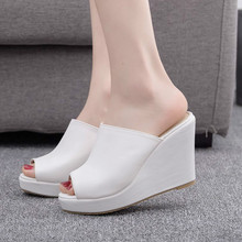 Women Sandals Shoes Slip-On Wedges 10CM High Heels Shallow P