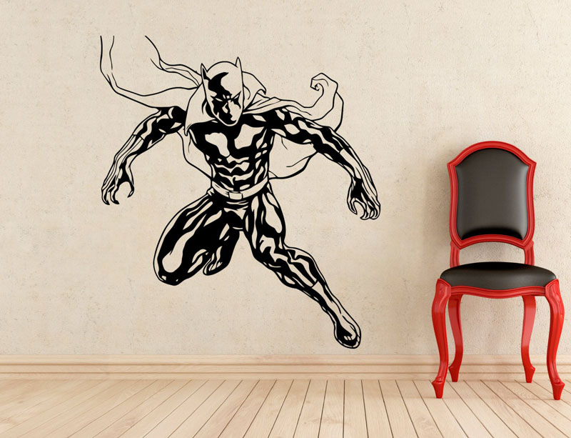 Superhero Black Panther Wall Decal Vinyl Detachable Fashion Applique Home Indoor Mural Boy Room Art Deco  CJY27-in Wall Stickers from Home & Garden