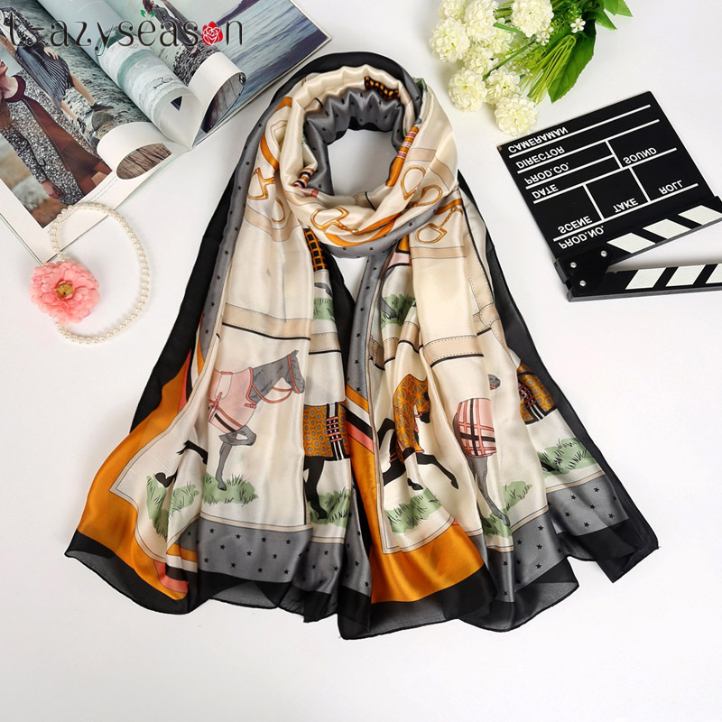 2018 New women Silk   Scarf   women Summer beach brand fashion print hijab   Scarves   luxury brand thin soft shawl   wraps   size 180X90 CM