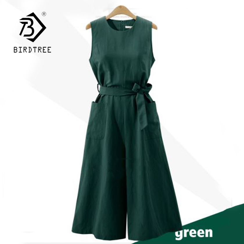 New Women Cotton Linen Solid Sleeveless Bow Lace Up High Waist Pockets Jumpsuit Lady Wide Leg Pants Female 4XL Plus Size S87301F