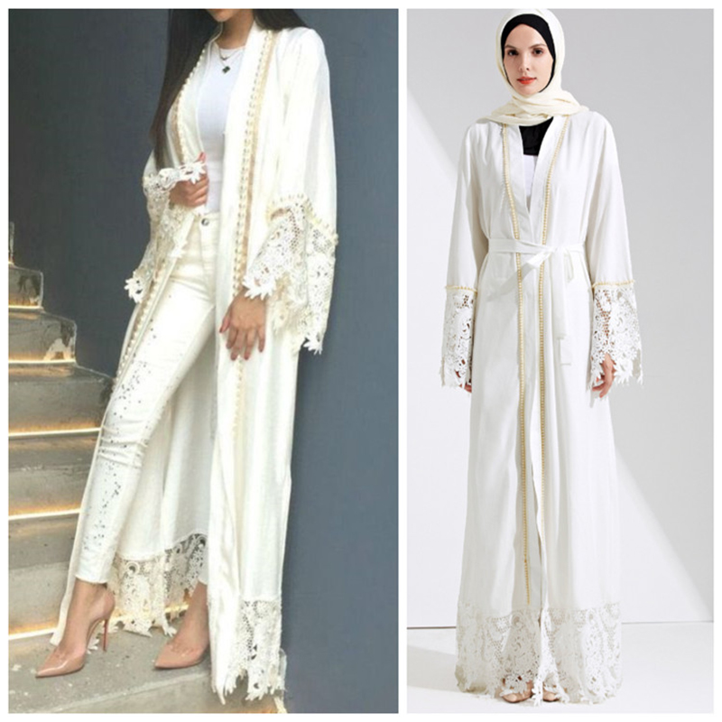 Muslim Lace Maxi Dress Abaya Embroidery Cardigan Pearl Long Robes Tunic Kimono Jubah Middle East Ramadan Arab Islamic Clothing