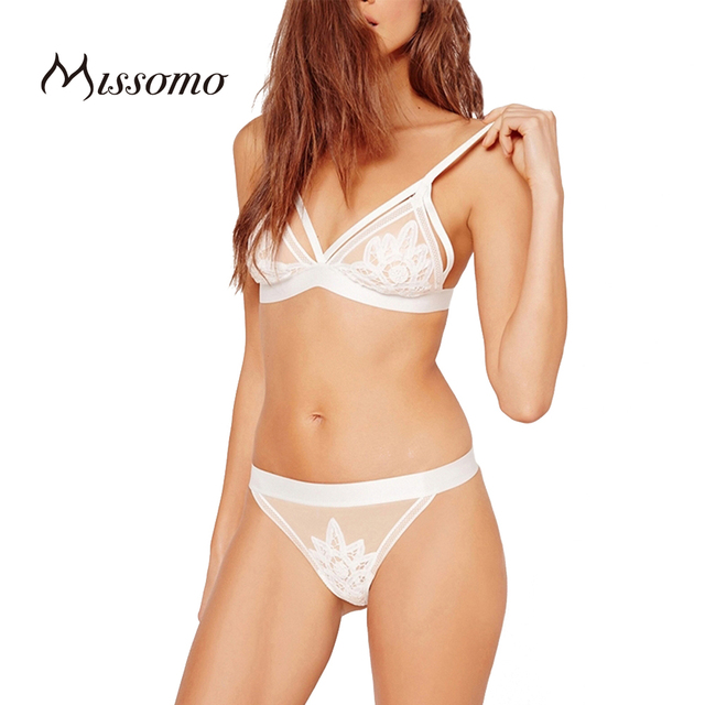 Missomo 2017 New Fashion Women Soft Mesh Underwear Panties Adjustable Bralette White Sexy Lace Straps Deep V Bra Sets