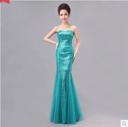 2014 Womens Formal Dress Long Design Fish Tail Slim Tube Top