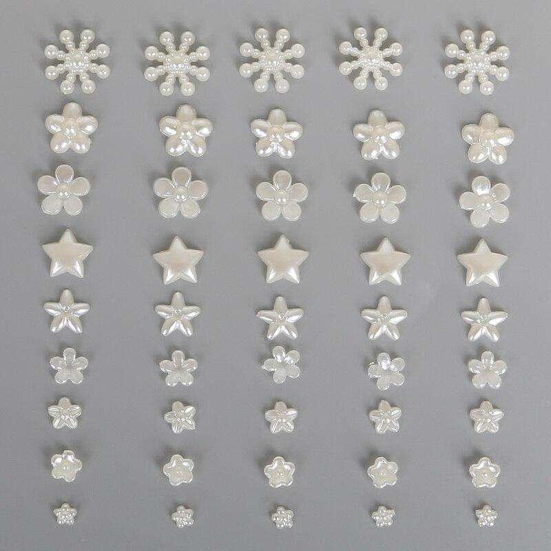 Лидер продаж цветок/звезда/снежинка плоская задняя кабошон имитация пластика ABS жемчуг бусины для DIY ювелирные изделия ручной работы изготовление