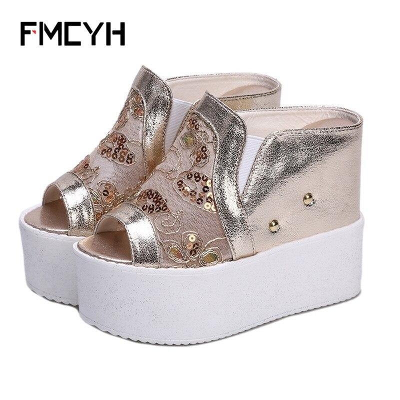 FMCYH женские шлепанцы открытый носок Для женщин шлепанцы кружевным плетением супер высокие туфли на каблуке и платформе летние туфли на танк...