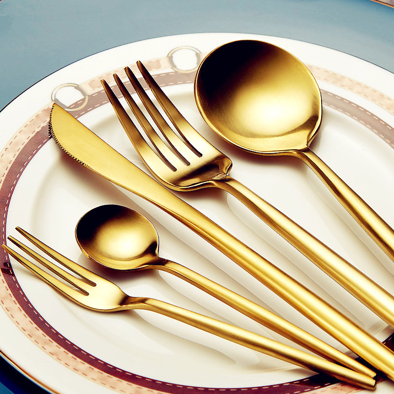 30pcs KuBac Hommi Quality Stainless Steel Knife Fork Party Golden Dinnerware Set Gold Cutlery Set Drop Shipping
